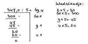 voorbeeld rekensom kommagetallen delen stap2