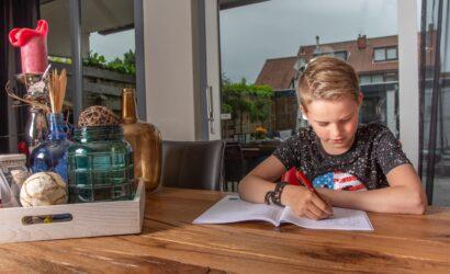 Jongen is aan het leren in boek