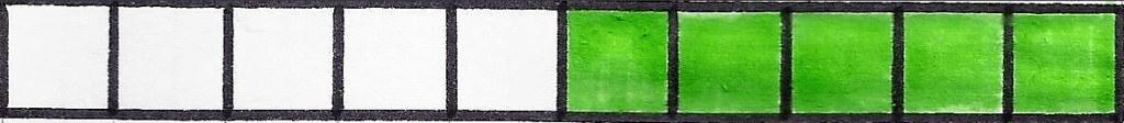 voorbeeld tiental in blokjes 5 groene blokjes