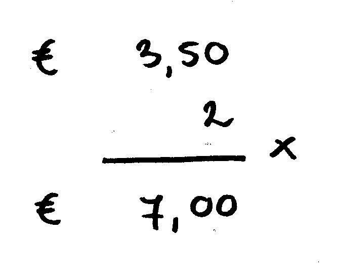 vermenigvuldigen geldbedragen voorbeeld