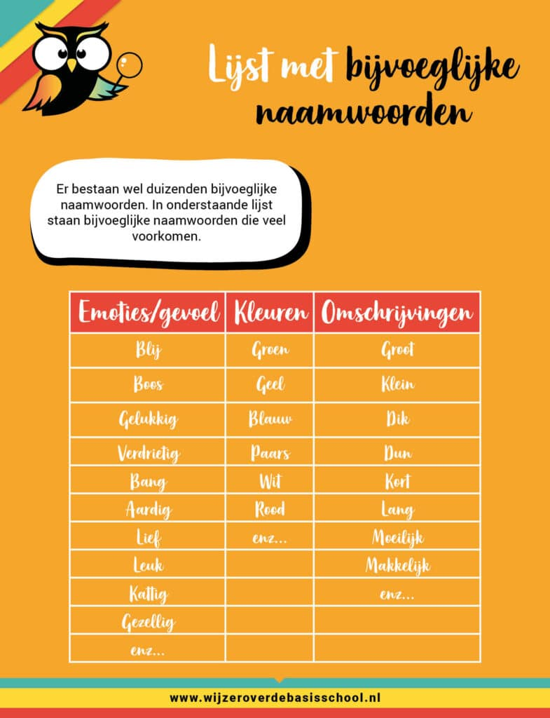 lijst bijvoeglijk naamwoorden