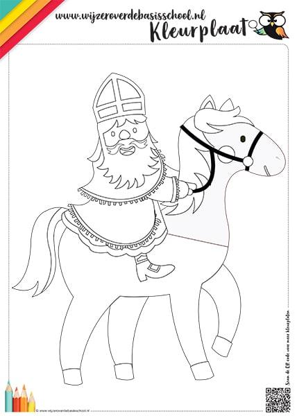kleurplaat paard van sinterklaas