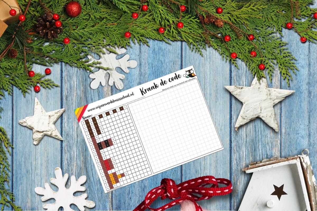 kleurplaat kerst kraak de code