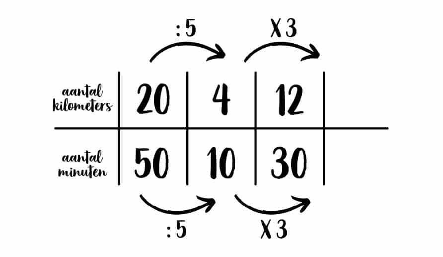 voorbeeld ingevulde verhoudingstabel