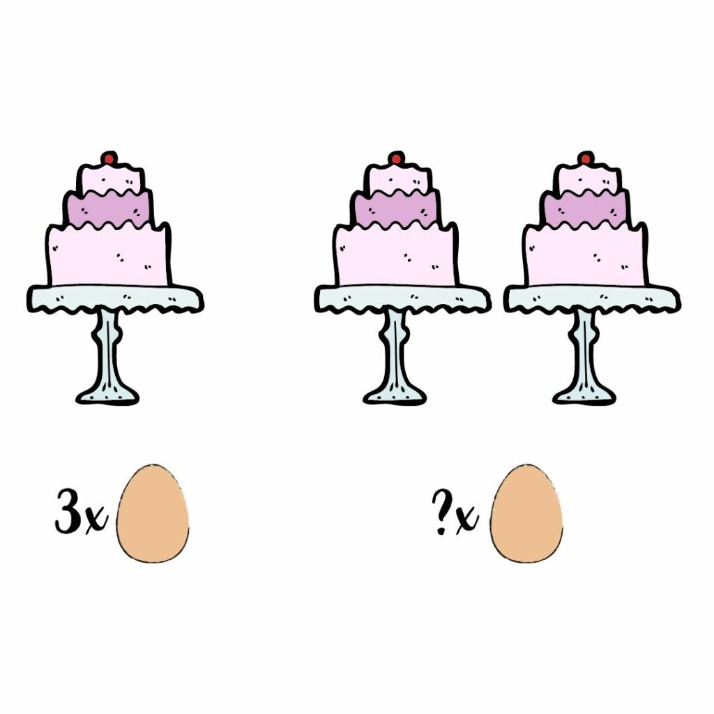 som met taart en eieren