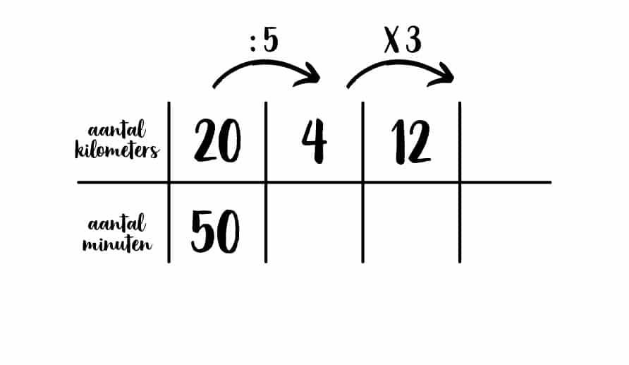 voorbeeld verhoudingstabel met som
