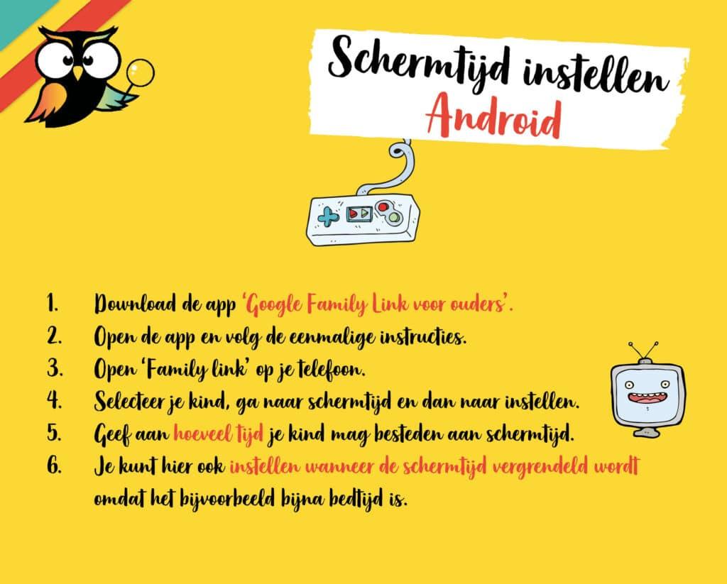 Schermtijd kind instellen Android